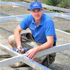Steve building an awning